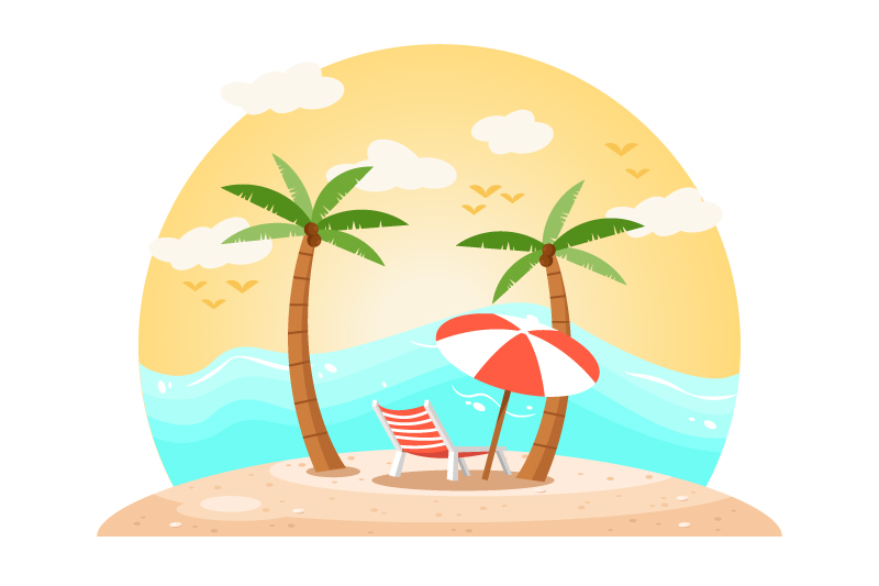 Tropical Landscape Cartoon